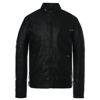 Stand Collar Leather Zip Motorcycle Jacket