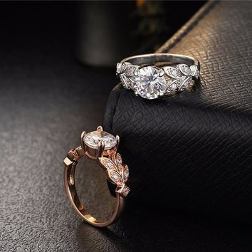 Flower Crystal Ring  Rose Gold Gold