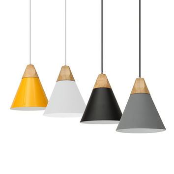 Lamp Covers Wood E27 Screw Simple Lampshade Pendant Drop Ceiling Hanging Lamp Chandelier Kitchen Light Fixture AC110-240V