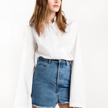 Wide Sleeve White Cotton Shirt