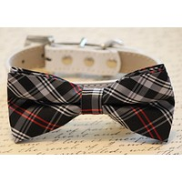 Black, Red and White Plaid dog bow tie, plaid wedding, birthday, holiday, gift