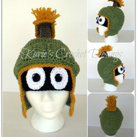 MARVIN THE MARTIAN Crochet Hat Beanie