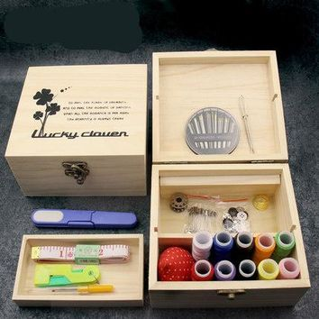 Wooden sewing box set household hand wood boxes household sewing kit manual sewing supplies kit Wedding Gifts Home Accessory de