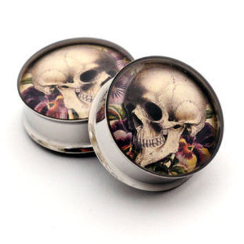 Vintage Skull Art Picture Plugs STYLE 6 gauges - 00g, 1/2, 9/16, 5/8, 3/4, 7/8, 1 inch