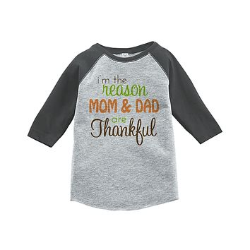 Custom Party Shop Baby's I'm The Reason Mom and Dad Are Thankful Grey Raglan