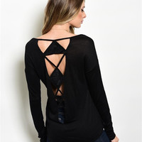 Caged Cut-Out Back Black Top
