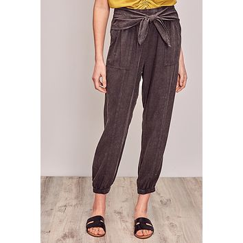 Washed Look Pants with Front Tie - Charcoal
