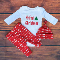 2016 Christmas baby clothinf sets Toddler Girls Boys clothing set  3pcs Romper + pants + Hat suit . baby cotton pajamas SY175