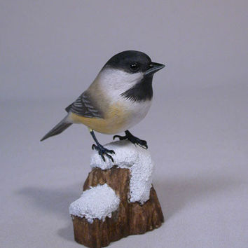 Handcarved Black-Capped Chickadee on Snow Base