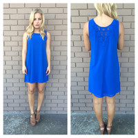Royal Blue Crochet Back Dress