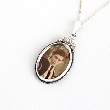 Vintage Art Deco Photographic Pendant Necklace- 1930s 1940s WWII Germany Old Stock Silver Plated Historical Celluloid Man Picture Jewelry