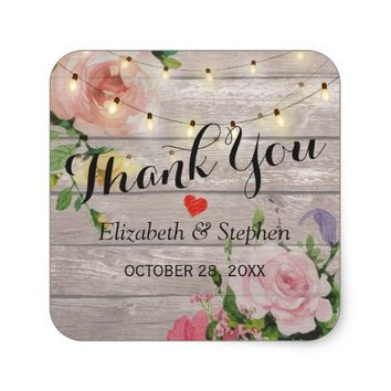 Wood Floral String Lights Wedding Favor Thank You Square Sticker