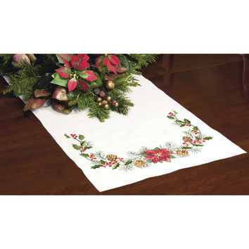 "Stamped Cross Stitch Table Runner 15""""X44""""-Christmas Greens"