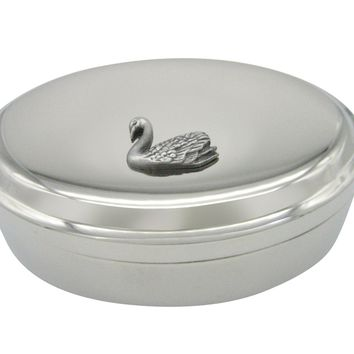 Textured Swan Bird Pendant Oval Trinket Jewelry Box