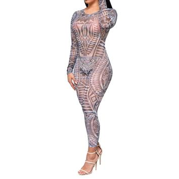 Adogirl Tribal Tattoo Print Mesh Sheer Jumpsuit Women Autumn Sexy See Through Backless Bodycon Long Rompers Combinaison Femme