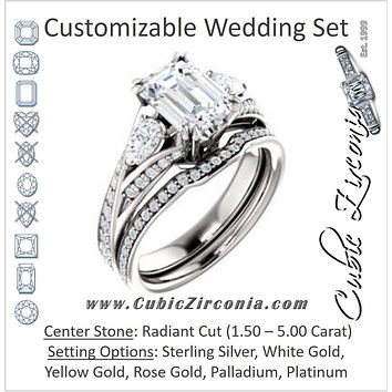 CZ Wedding Set, featuring The Jackie engagement ring (Customizable Radiant Center with Flanking Pear Accents and Pavé Band)