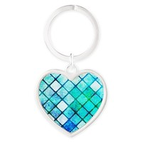 Blue Tiled Geometric Design Keychains
