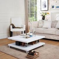 Modern Coffee Table Square Glass Top White Sleek Elegant Living Room Furniture