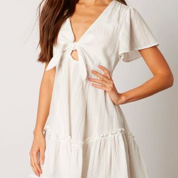 cotton candy la - dreamy front tie mini dress in white