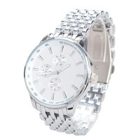 Man Fashion Steel Band Quartz Wrist Watch White Round Dial Couple Watch Gift Men Size [9210700355]