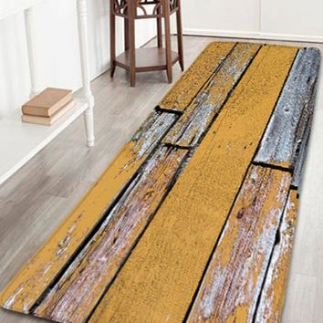 Bathroom Skidproof Wood Grain Print Flannel Rug