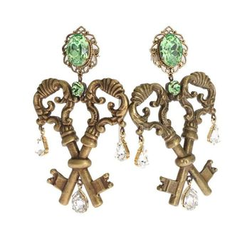 Dolce & Gabbana Gold Brass Green Crystal Keys Dangling Clip On Earring