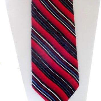 Designer FERRUCCI Red & Blue Striped Silk Tie