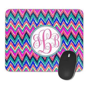 Mousepad Pink Blue Teal Chevrons, Personalized Monogrammed Mouse Pad  Custom Gift, Mouse Mat Gift for her