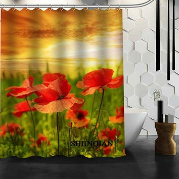 Best Nice Custom Poppies Flowers Poppy Shower Curtain Bath Curtain Waterproof Fabric Bathroom Curtain MORE SIZE A6.1-104