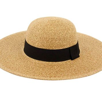 Traditions Hat Co. Womens UPF50 Foldable Summer Sun Beach Straw Hats Wide Brim with Adjustable Drawstring
