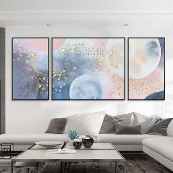 Abstract Paintings on canvas art 3 pieces Wall Art acrylic Gold art pink moon Original painting wall pictures home decor cuadros abstractos