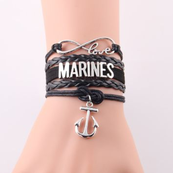 Marines Anchor Leather Wrap Charm Bracelet