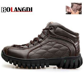 Bolangdi New Outdoor Genuine Leather Plush Men Hiking Shoes Winter Walking Jogging Shoes Mountain Sport Boots Climbing Sneakers