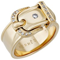 Hermes Diamond Buckle Band Ring
