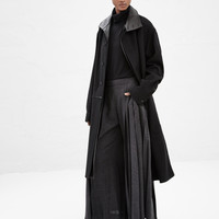 Totokaelo - Yohji Yamamoto Black Men's Leather Wool Long Coat - $2,441.00
