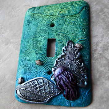 Tiny Turtles and the Jellyfish, light switch cover, toggle switch plate, blues, greens, beach chic, ocean theme, one of a kind