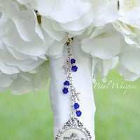 Something Blue Bridal Bouquet Charm - Bridal Bouquet Picture Charm - Bouquet charm - Bouquet Picture Charm - Bridal Gift - Bouquet Pendant