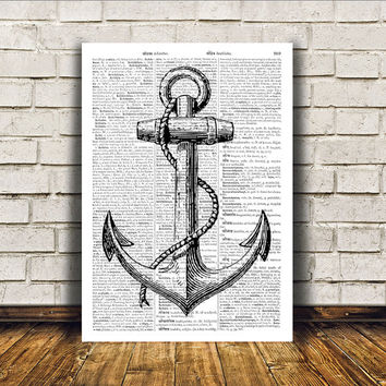 Marine print Anchor poster Nautical art Beach house decor RTA137