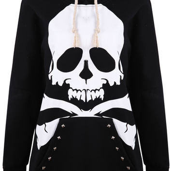 Black Hooded Rivet Skull Print Sweatshirt - Sheinside.com