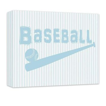 Baseball with Ball and Bat Children's Canvas Wall Art