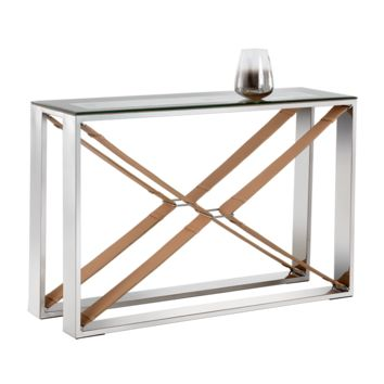 MAVI POLISHED STAINLESS STEEL-TAN LEATHER FRAME WITH TEMPERED GLASS TOP CONSOLE TABLE