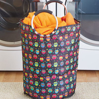 Owl Jumbo Handled Portable Laundry Hamper Tote Storage Bag College Dorm Home
