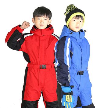 2017 Winter thickening Waterproof breathable Siamese children's ski suits boys and girls ski jackets