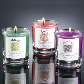 Herbal Magic Reiki Charged Glass Votive Candles