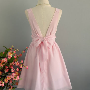 A Party Dress - V Shape Pastel Pink Backless Dress Pink Party Dress Pink Wedding Bridesmaid Dress Baby Pink Sundress Cocktail Dress XS-XL