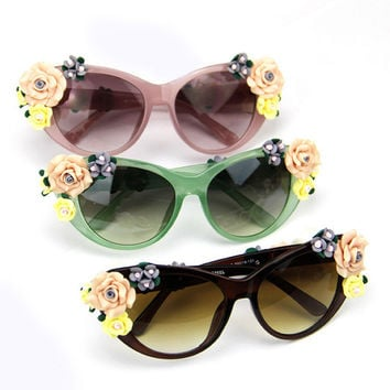 Fashion Oversized Women's Girls Vintage Floral UV Sunglasses