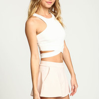 IVORY WRAPAROUND PLUSH CROP TOP