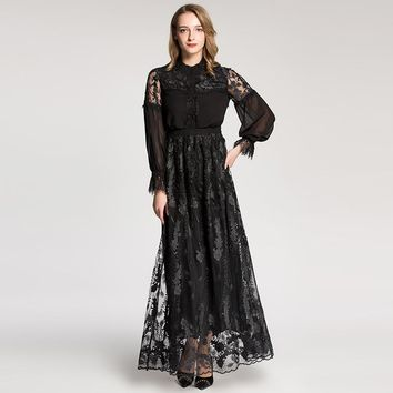 retro women dress round collar lace patchwork long sleeve designer embroidered dress mopping floor long maxi dress