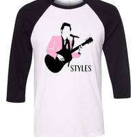 "Harry Styles ""Pink Jacket Stencil""  Baseball Tee"