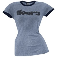 The Doors - Logo Blue Ringer Juniors T-Shirt